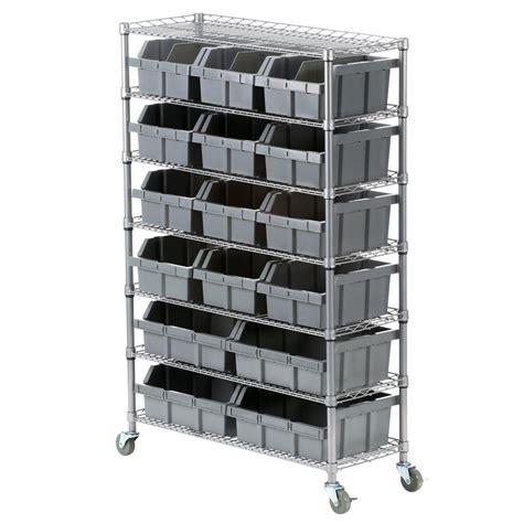 seville classics seville classics 7 shelf commercial bin rack system