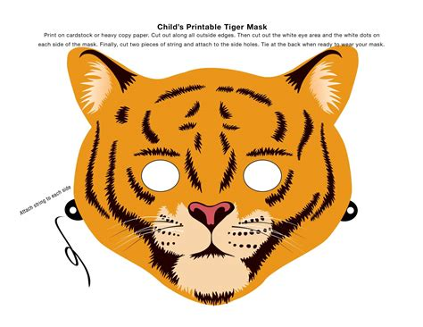 printable animal eye masks make an animal mask using this clip art tiger mask