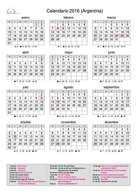 Calendario Lunar Junio 2015 Usa Calendario Calendarios 2016 Para Argentina 3 Anuales