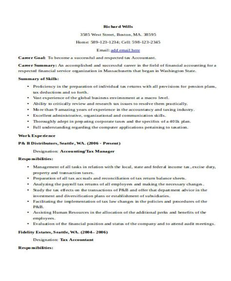 sle resume of an accountant sle tax accountant resume 28 images beautiful