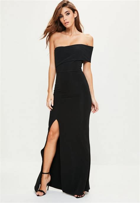 black one shoulder maxi dress missguided