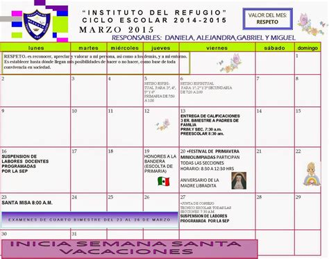 Calendario 9 De Marzo Instituto Refugio Calendario De Marzo 2015