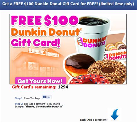 Dunkin Donut Gift Card - get dunkin donut gift card for free limited time only facebook scam