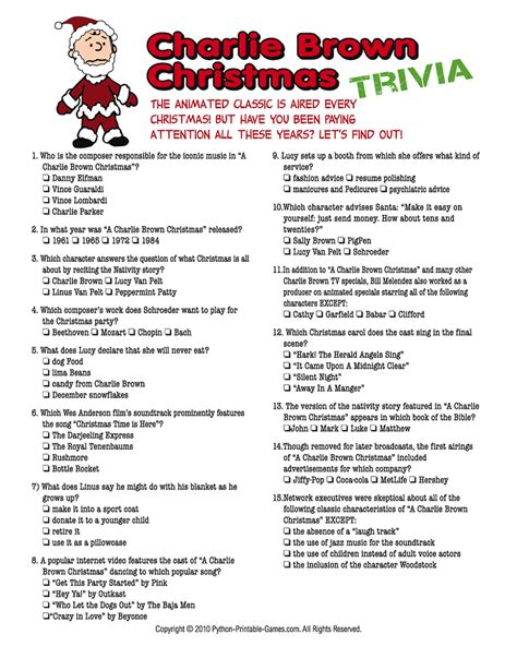 printable christmas games and quizzes christmas trivia games charlie brown christmas charlie