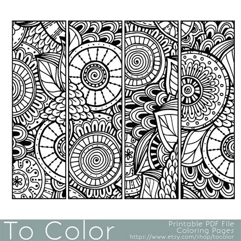 grown up coloring pages mandala bookmarks coloring page for grown ups instant