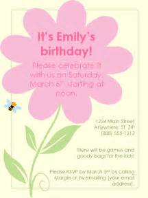 birthday invitations for free templates flower birthday invitation template
