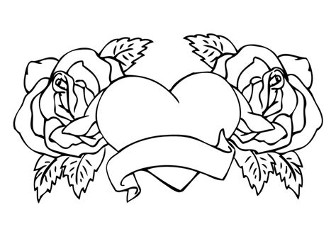 coloring pages hearts and roses coloring pages