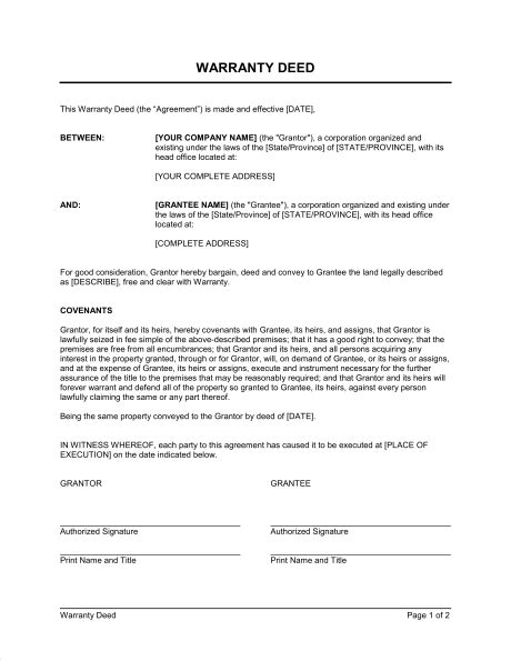warranty deed template free printable documents