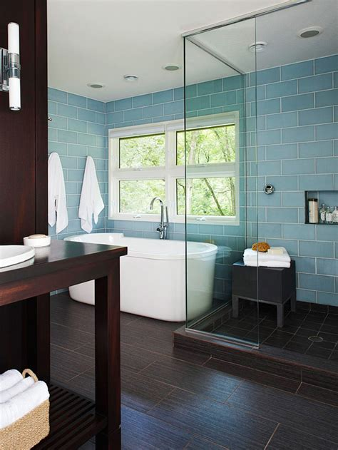 blue tile bathroom floor blue glass subway tiles contemporary bathroom bhg