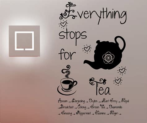 kitchen wall quote stickers everything stops for tea wall quote sticker vinyl kitchen cafe ebay