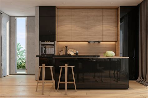 contemporary wood kitchen two apartments with texture one soft one sleek