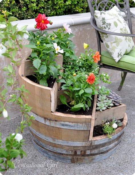 wine barrel planters recycled wine barrel planter centsational
