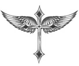 tribal angel wings cross tattoo design