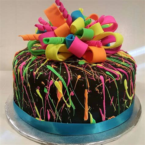 cake colors neon splatter cake black fondant with white chocolate