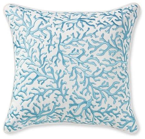 coral embroidered pillow tropical decorative pillows