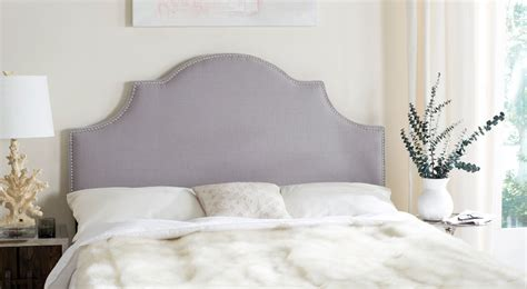 arctic upholstery hallmar arctic grey arched headboard silver nail head