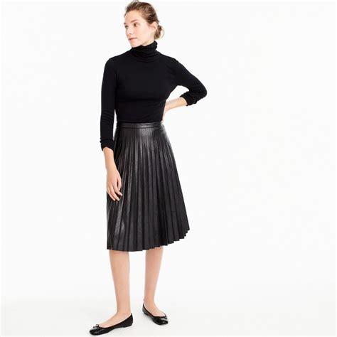 faux leather pleated midi skirt s skirts j crew