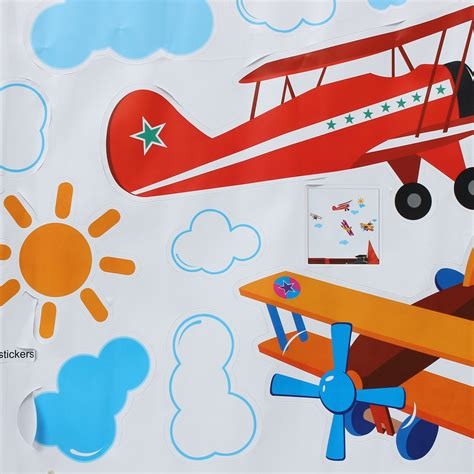 Wall Stickers Multicolor 3 2 four air planes multicolor wall sticker home vinyl decal
