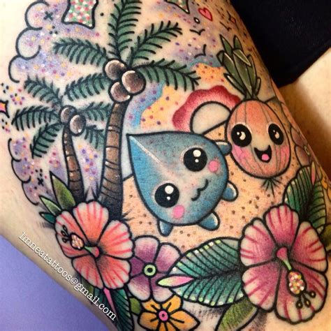 watercolor tattoos asheville tropical kawaii by linnea pecsenye linneatattoos