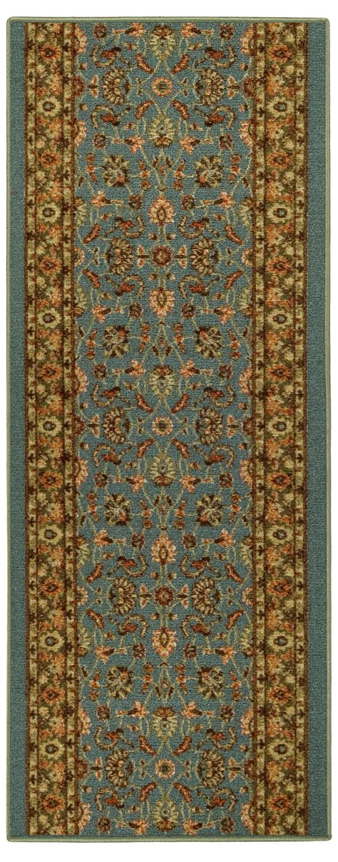 Rubber Backed Runner Rugs Custom Size Stair Hallway Runner Rug Rubber Back Non Skid Blue Border 86