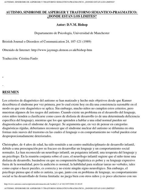 Autismo, Sindrome de Asperger Y Trastorno Semantico