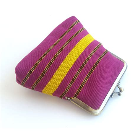 Pink Pouch pink and yellow aso oke pico pouch