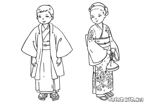 Coloring Pages Clothing by Coloring Page Children In Traditional Clothing