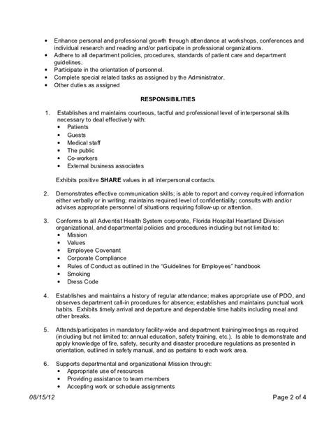 Resume For Nursing Technician patient care technician description for resume patient