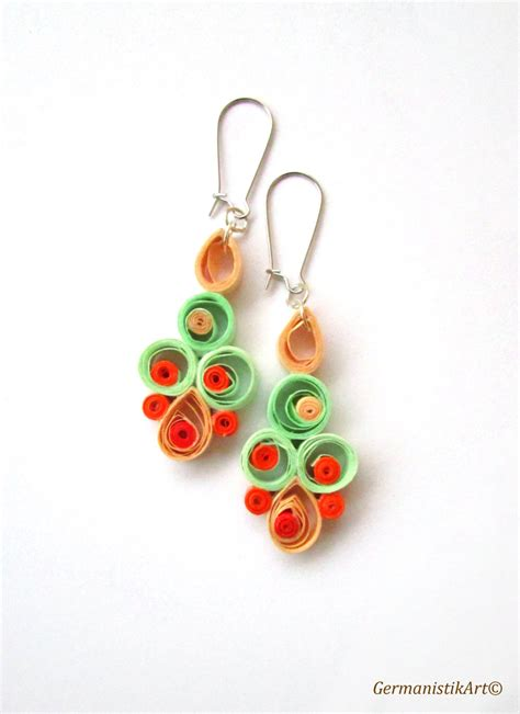 Quilling Paper Earring - pastel quilling earrings earrings with pastel quilled