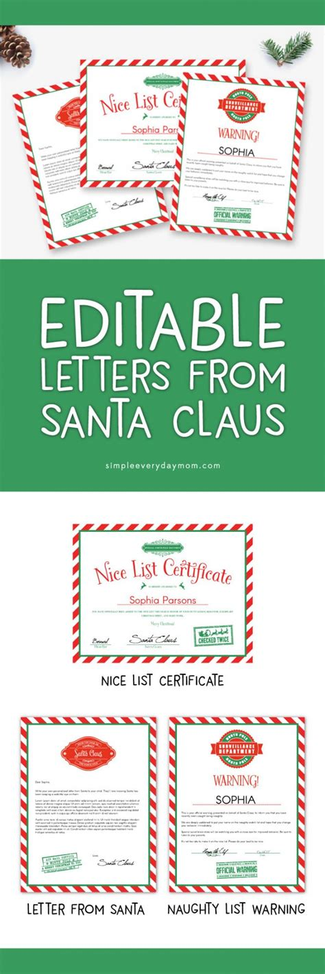 printable santa naughty letter use these editable letters from santa for a magical christmas
