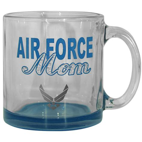 design mug bottom air force mom with star iced design clear and blue bottom