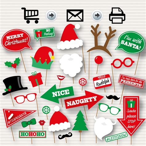 Printable Christmas Themed Photo Booth Props | christmas photo booth printable props christmas party photo
