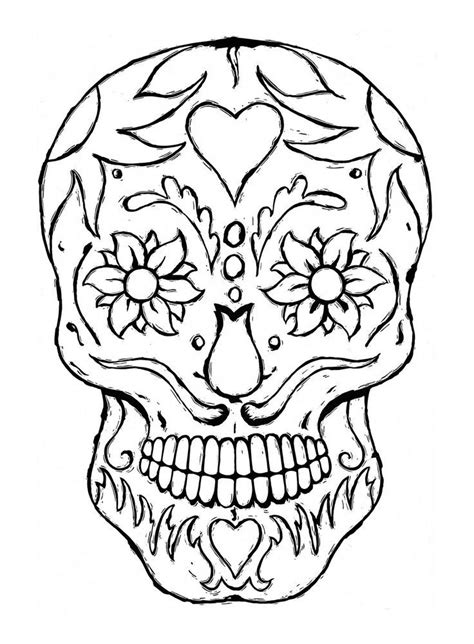Printable Sugar Skulls Coloring Pages For Adults sketch template