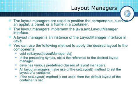 applet layout manager exle gui programming in java