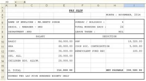 salary receipt template for a nanny payslip template format in excel and word microsoft