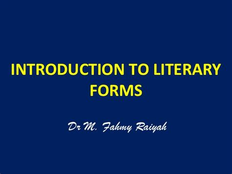 introduction to literature introduction to literary forms