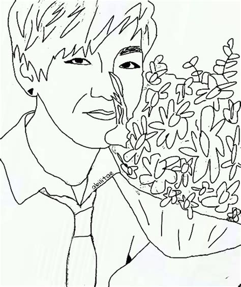 Bts V Coloring Pages by Taehyung S Outline Vbts V Taehyung 4dalien Bts