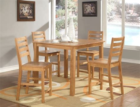 dining set light oak 5pc caf 233 dinette counter height 4 plain wood seat
