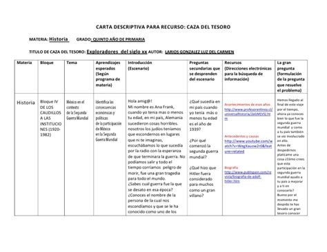 ejemplo de cartas descriptivas de educacion preescolar carta descriptiva caza tesoro