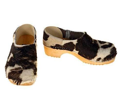 Cowhide Clogs - clogs open and closed cow fur clogs