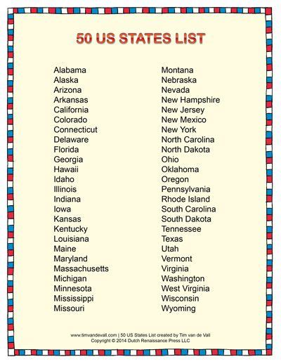 list of 50 states list of states in alphabetical order social studies