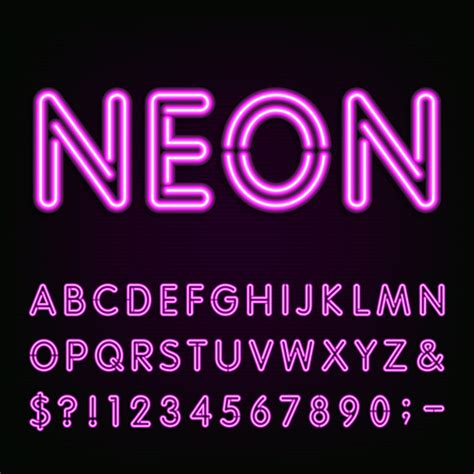 free download neon typography purple neon alphabet with number and sign vector vector