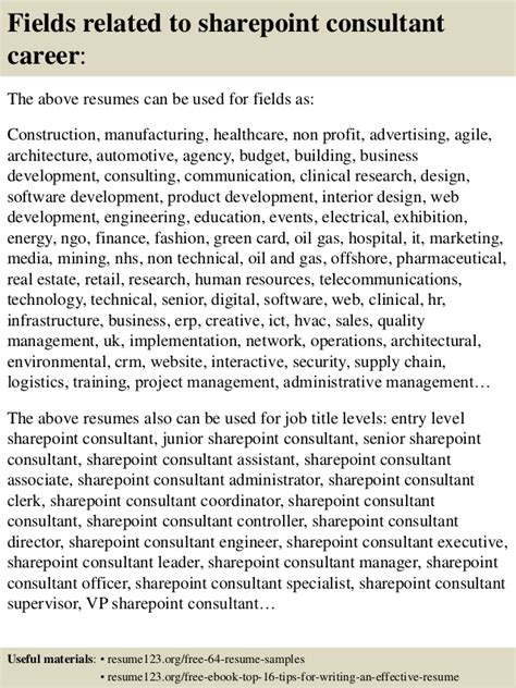Sharepoint Consultant Resume by Top 8 Sharepoint Consultant Resume Sles
