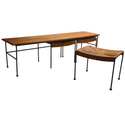 Bar Table With Nesting Stools by Arthur Umanoff Bench With Nesting Stools At 1stdibs