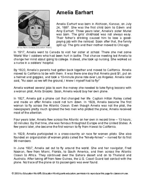 amelia earhart biography for middle school education world lesson322 pdf