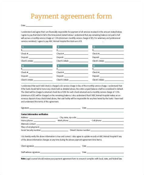 payment form template sle agreement form 36 exles in word pdf
