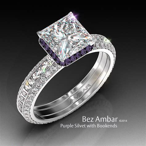 purple wedding rings diamondstud