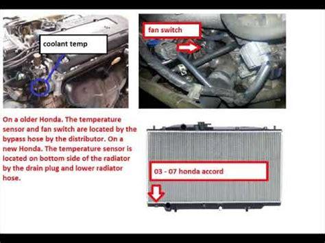 honda coolant temperature sensor location youtube