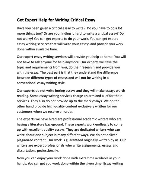 Essay Writing Expert by Get Expert Help For Writing Critical Essay By Essaywritinguk Issuu