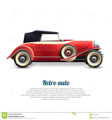 Poster Classic Car 1 retro car poster stock vector image 54319449
